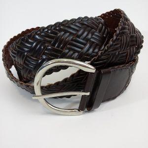 Accessories - Black Braided Leather Belt Plus Size 1X